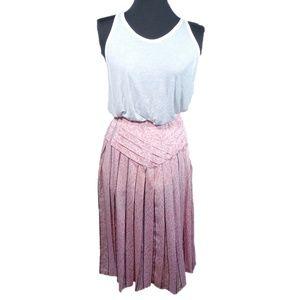 VTG 80s Pink Embellished Pleated Skirt Marble OOAK
